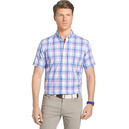 Big tall izod advantage classic fit plaid stretch button for Izod button down shirts