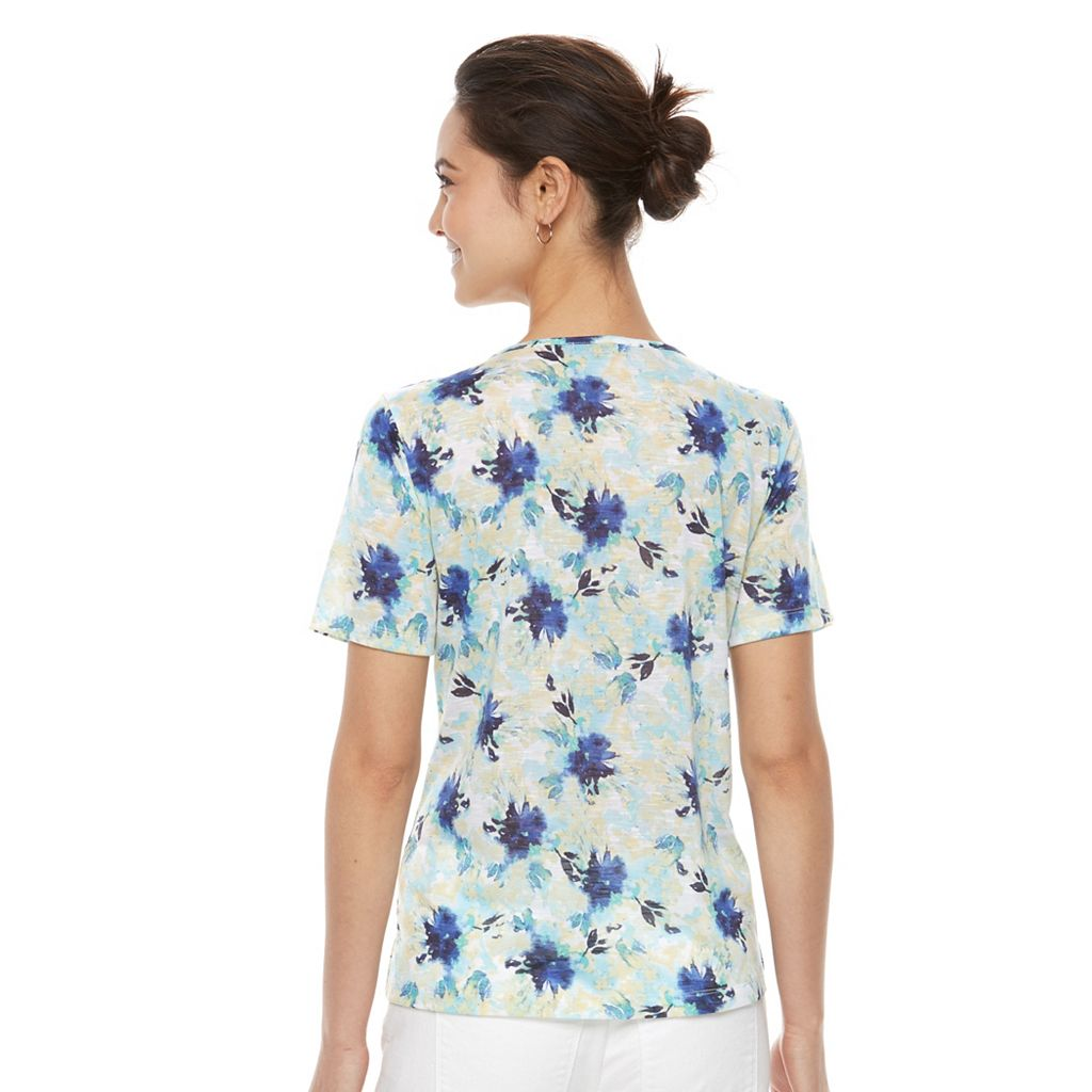 Petite Napa Valley Floral Knotted Top