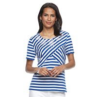 Petite Napa Valley Striped Embellished Tee