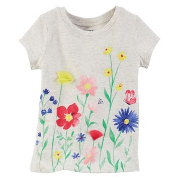 Baby Girl Carter's Short Sleeve Gray Flower Graphic Tee