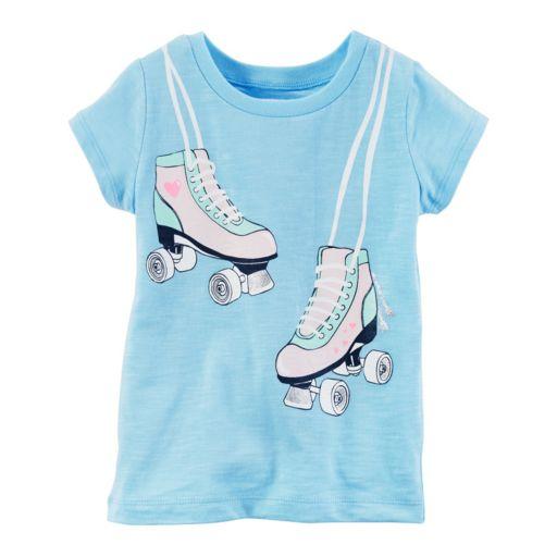 Baby Girl Carter's Roller Skates Glitter Graphic Slubbed Tee
