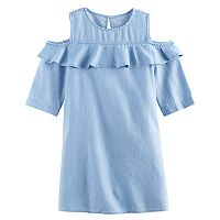 Girls 4-8 SONOMA Goods for Life™ Denim Cold Shoulder Ruffle Dress
