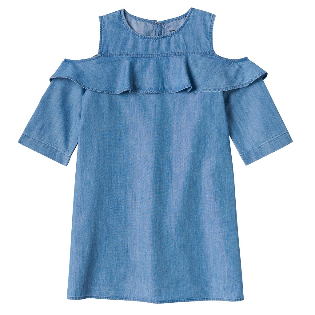 Girls 4-8 SONOMA Goods for Life™ Denim Cold Shoulder Ruffle Dress