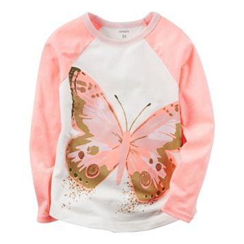Baby Girl Carter's Glitter Butterfly Graphic Raglan Tee