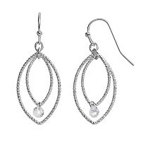 LC Lauren Conrad Textured Double Marquise Drop Earrings