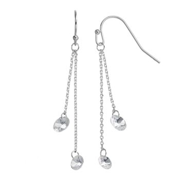 LC Lauren Conrad Double Chain Simulated Crystal Drop Earrings