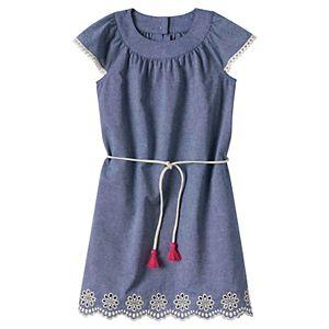 Girls 4-8 SONOMA Goods for Life™ Belted Chambray Pom Pom Dress