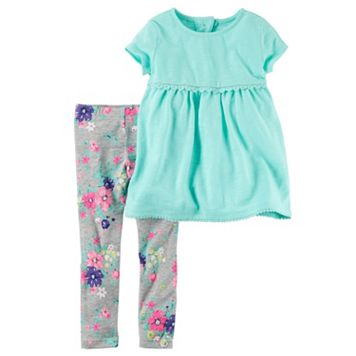 Baby Girl Carter's Cut-Out Babydoll Tunic & Floral Leggings Set