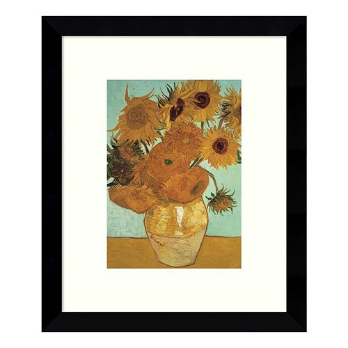 Sunflowers on Blue 1888 Framed Wall Art by Vincent van Gogh