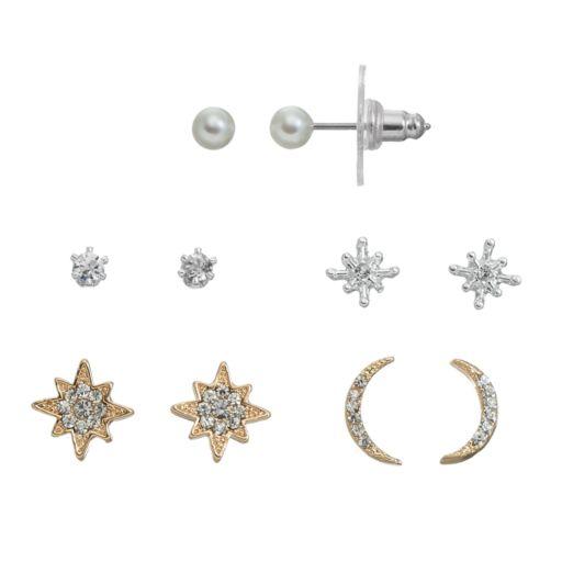 LC Lauren Conrad Starburst & Crescent Earring Set
