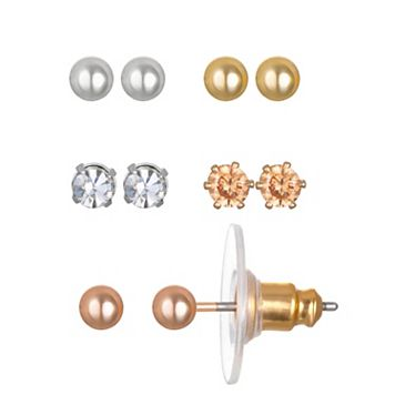 LC Lauren Conrad Simulated Crystal & Ball Stud Earring Set