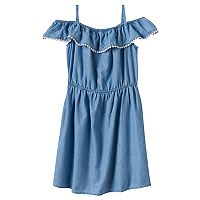 Girls 4-8 SONOMA Goods for Life™ Denim Pom Pom Ruffle Dress
