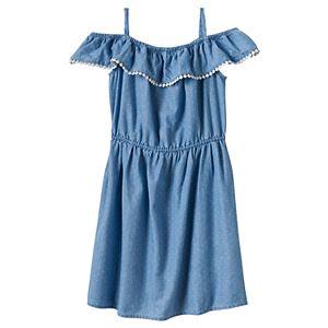 Girls 4-8 SONOMA Goods for Life™ Denim Pom Pom Ruffle Dress