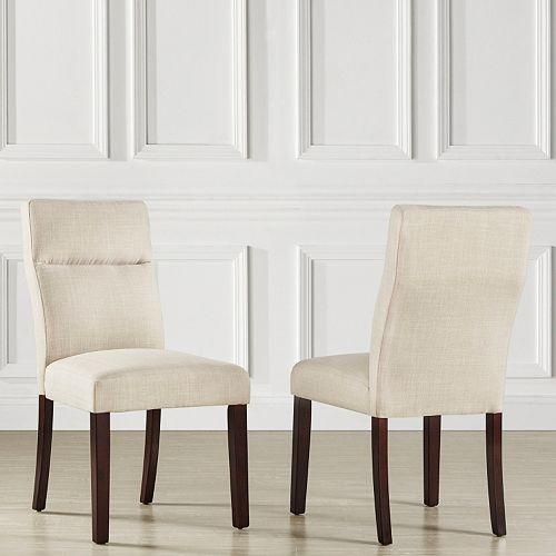 HomeVance Hurst Linen Padded Dining Chair 2-piece Set