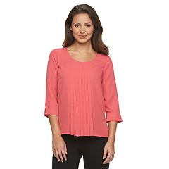 Petite Dana Buchman Pleated Chiffon Top