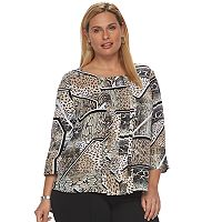 Plus Size Dana Buchman Pleated Chiffon Top