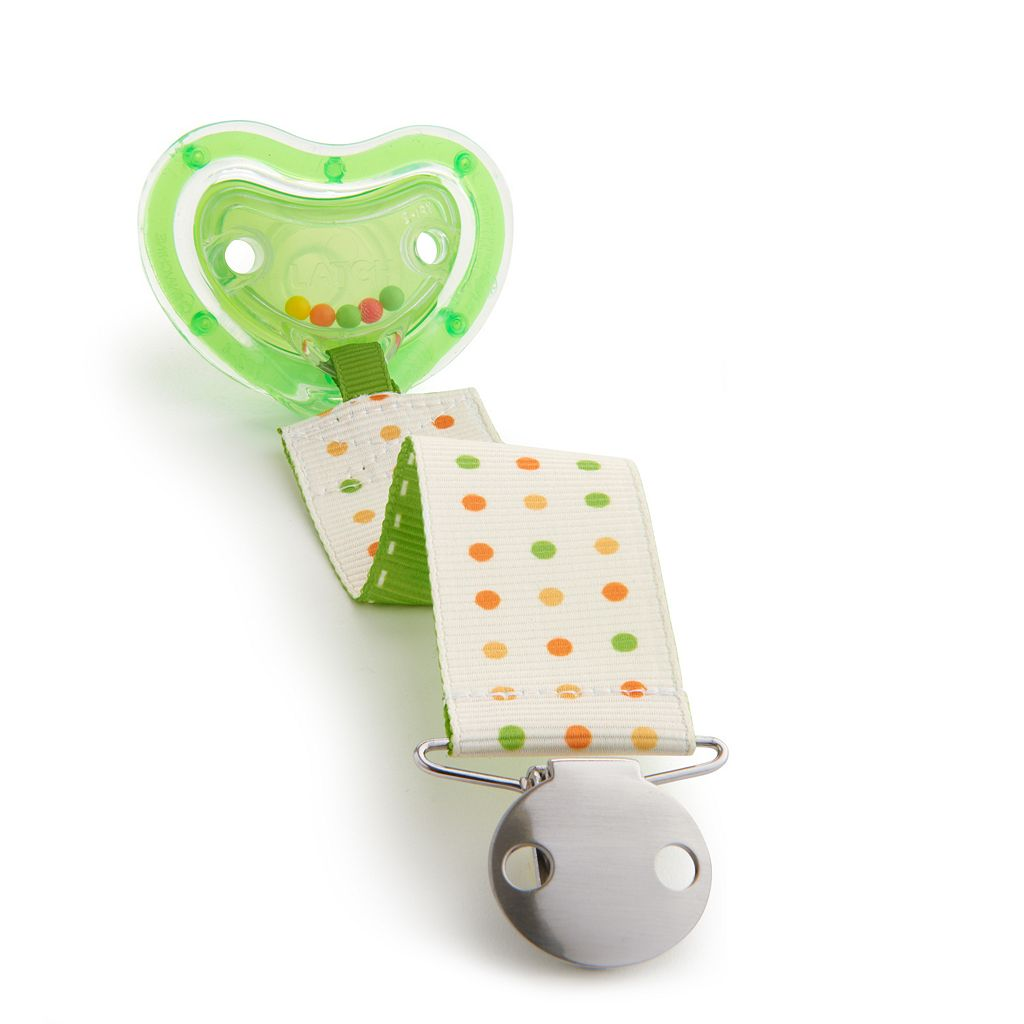 Munchkin Latch Dotted Pacifier & Rattle Clip - 0+ Months