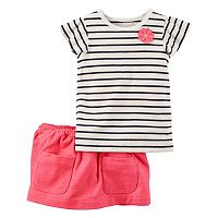 Baby Girl Carter's Striped Top & Slubbed Skort Set