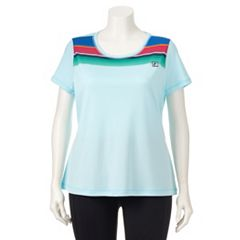 Plus Size FILA SPORT® Performance Mesh Yoke Scoopneck Tee