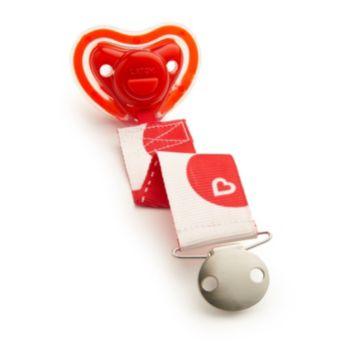 Munchkin Latch Polka-Dot Pacifier & Heartbeat Clip - 0+ Months