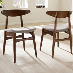 Baxton Studio Flora Mid-Century Dining Chair 2-piece Set
