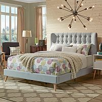 HomeVance Peralta Mid-Century Button Tufted Bed