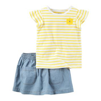 Baby Girl Carter's Stripe Tee & Chambray Skort Set