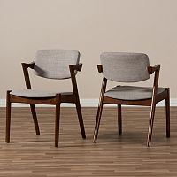 Baxton Studio Mid-Century Arm Dining Chair 2-piece Set