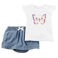 Baby Girl Carter's Butterfly Tee & Chambray Skort Set