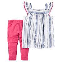 Baby Girl Carter's Striped Linen-Blend Tunic & Leggings Set