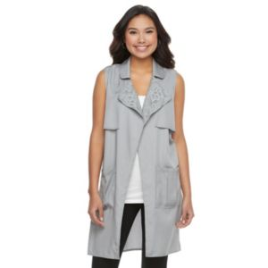 Juniors' Candie's® Draped Long Vest