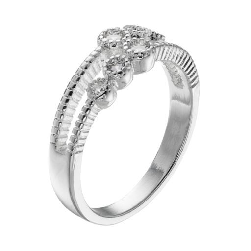 LC Lauren Conrad Simulated Crystal Textured Two Row Ring