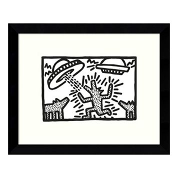 Untitled 1982 Dogs with UFOs Framed Wall Art