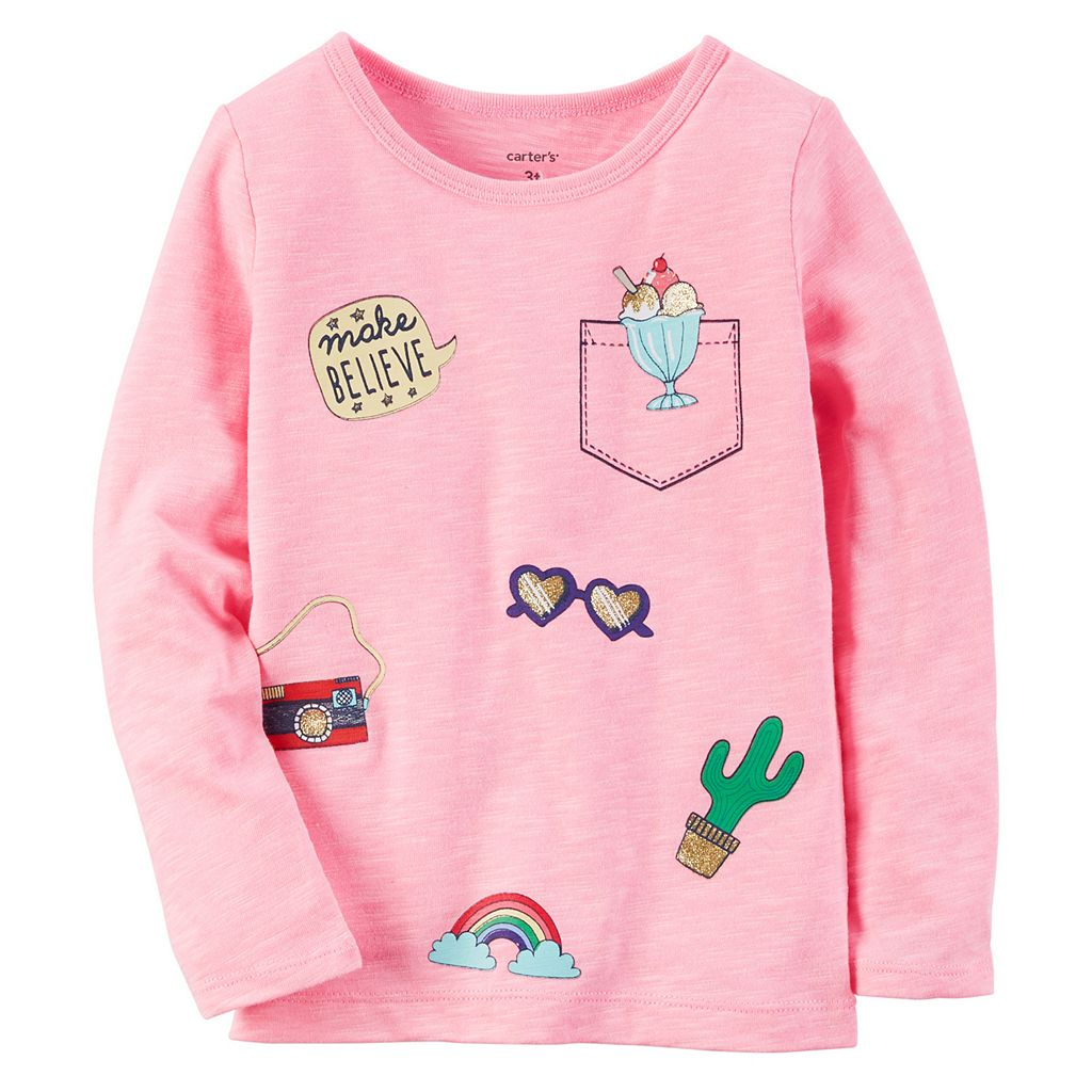 Baby Girl Carter's Long Sleeve Sparkly Patch Graphic Tee