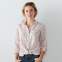 Women's SONOMA Goods for Life™ Plaid Tie-Front Shirt