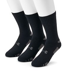 reputable site bc2ac 29f10 Men s Under Armour 3-pack Heatgear Performance Training Crew Socks. Black  White ...