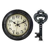 Wall Clock & Matching Key Wall Decor 2-piece Set