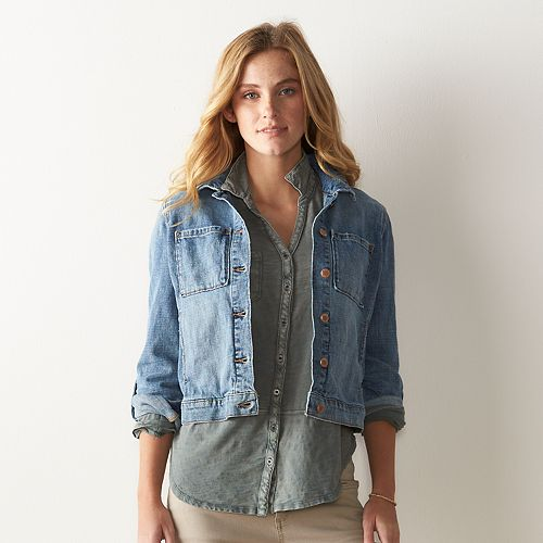 Women's SONOMA Goods for Life™ Crosshatch Jean Jacket