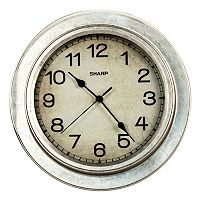 Sharp Galvanized Finish Wall Clock