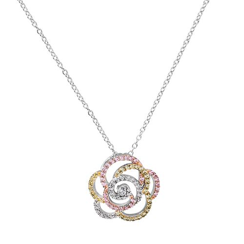 Tri Tone 18k Gold Over Silver Cubic Zirconia Rose Pendant Necklace