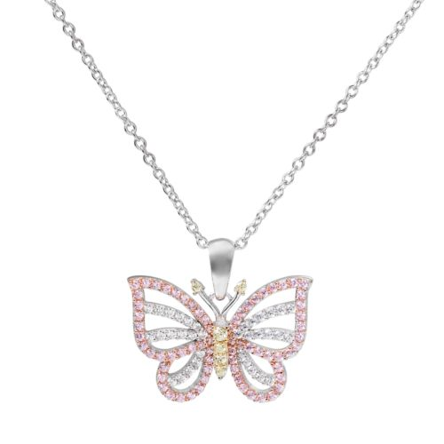 Tri Tone 18k Gold Over Silver Cubic Zirconia Butterfly Pendant Necklace