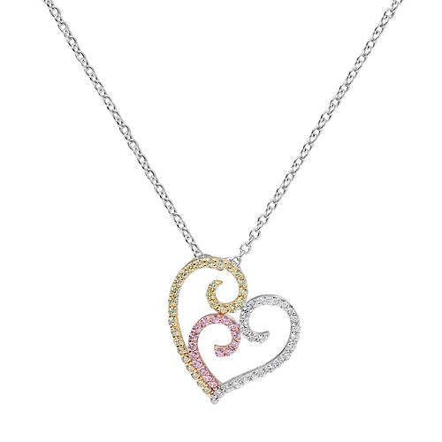 Tri Tone 18k Gold Over Silver Cubic Zirconia Filigree Heart Pendant Necklace