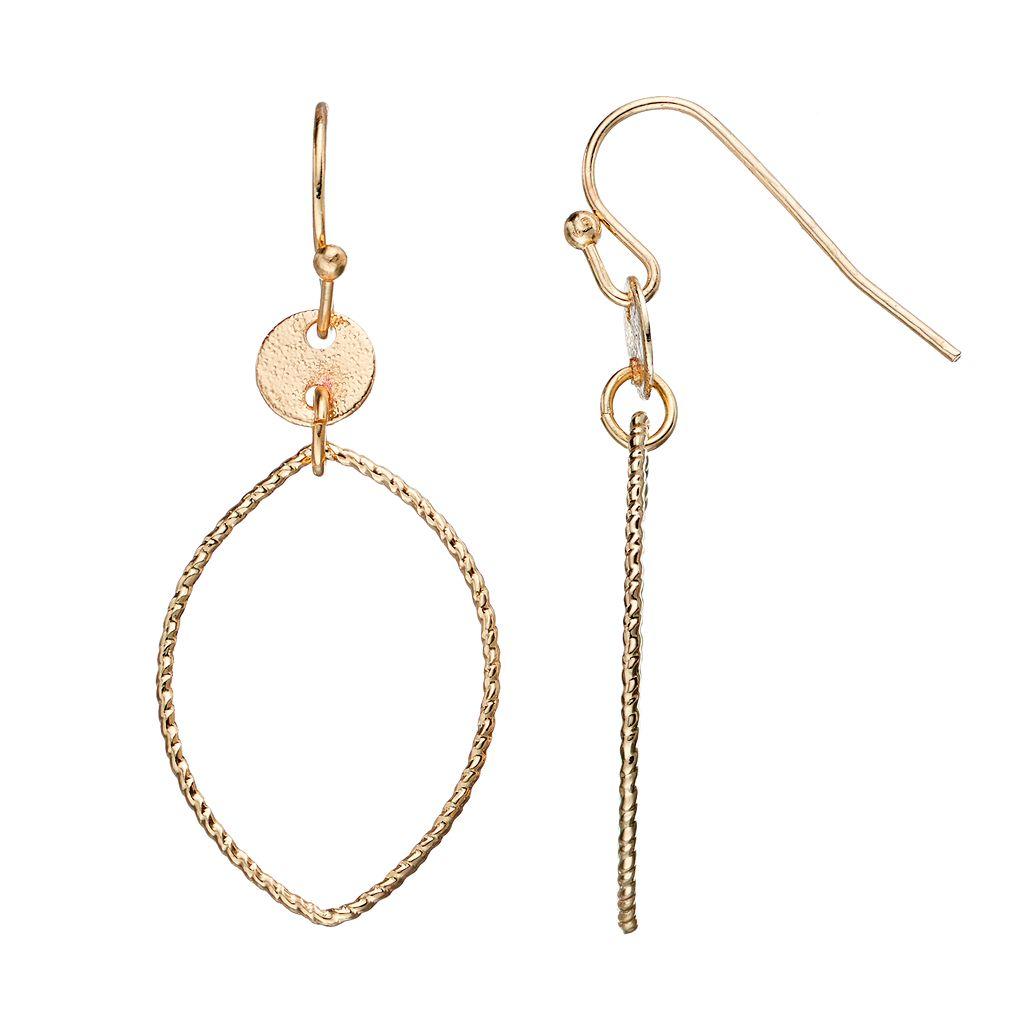 LC Lauren Conrad Textured Marquise Drop Earrings