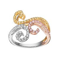 Tri Tone 18k Gold Over Silver Cubic Zirconia Filigree Ring