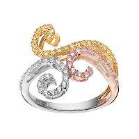 Tri Tone 18k Gold Over Silver Cubic Zirconia Filigree Ring
