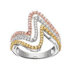 Tri Tone 18k Gold Over Silver Cubic Zirconia Wave Ring