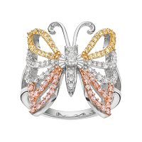 Tri Tone 18k Gold Over Silver Cubic Zirconia Butterfly Ring
