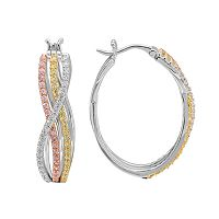 Tri Tone 18k Gold Over Silver Cubic Zirconia Twist Hoop Earrings