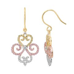 Tri Tone 18k Gold Over Silver Cubic Zirconia Filigree Drop Earrings