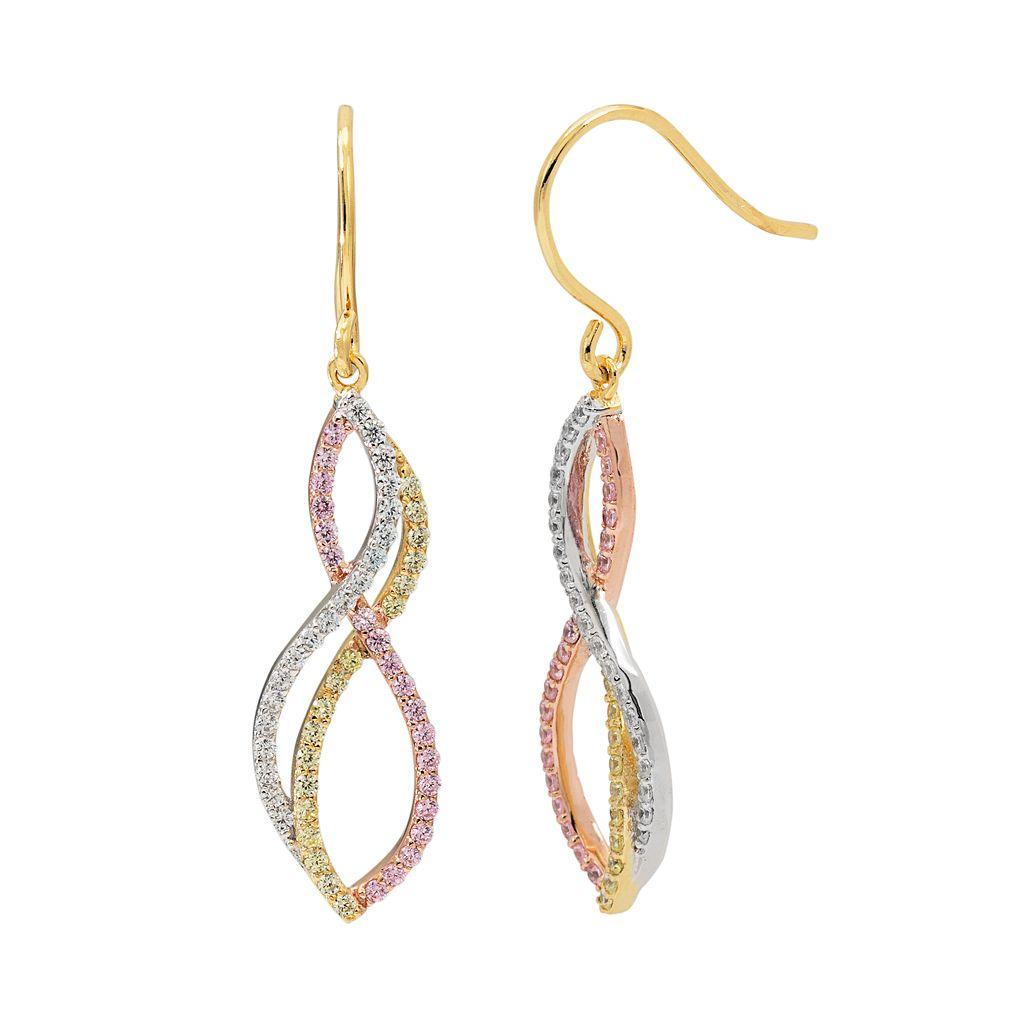 Tri Tone 18k Gold Over Silver Cubic Zirconia Twist Linear Earrings